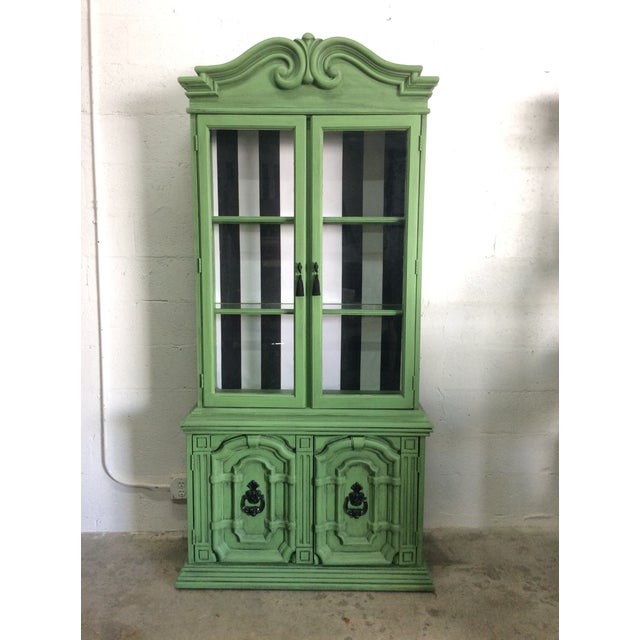 20th Century Chinoiserie Emerald Green Hutch For Sale - Image 13 of 13