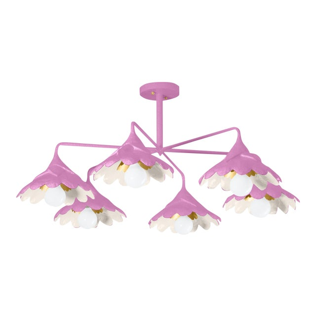 Stray Dog Designs for Chairish John O Ceiling Light, Violet and White For Sale
