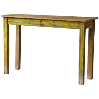 Primitive Yellow Painted Distressed Console Table For Sale