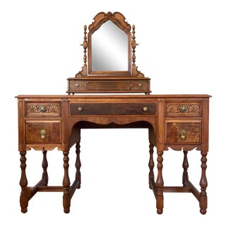 1920's Antique Solid Wood Desk Vanity For Sale