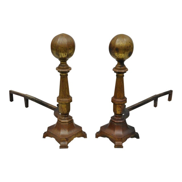 19th Century American Federal Brass Cannonball Andirons - a Pair For Sale