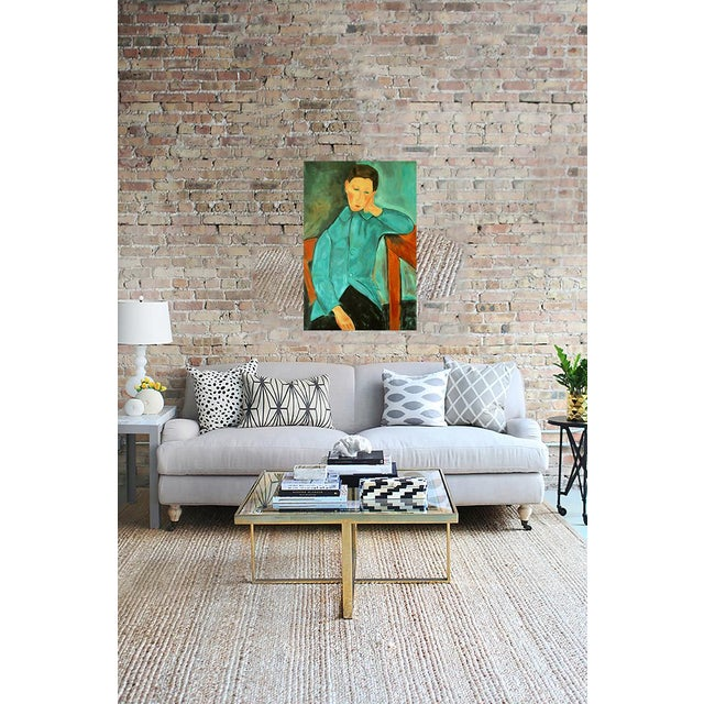"""Boy in Green"" Oil Painting After Modigliani by Trixie Pitts - Image 3 of 5"