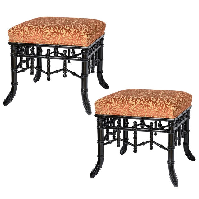Chinoiserie Black Faux Bamboo Wood Ottomans With Coral Velvet Motif - a Pair For Sale - Image 9 of 10