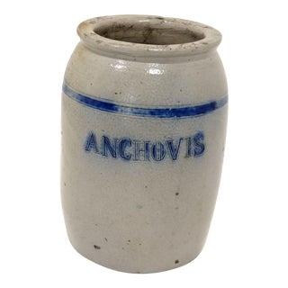 "Antique American Stoneware ""Anchovis"" Jar For Sale"