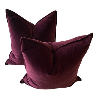 Crate & Barrel Violet Velvet Pillows - a Pair For Sale
