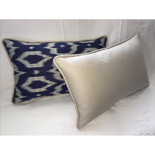 Navy Blue & Gray Silk Atlas Ikat Pillows - A Pair - Image 4 of 5