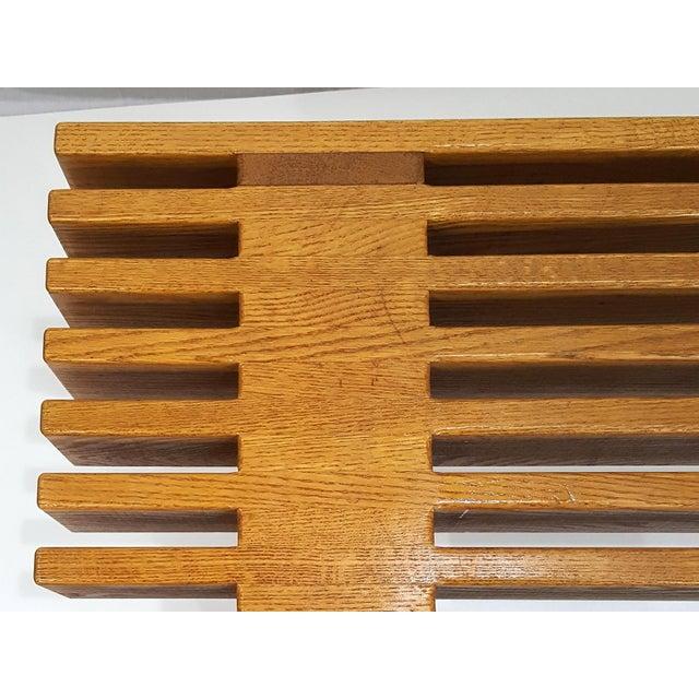 Wood 1960s Mid-Century Modern Oak Slat Bench For Sale - Image 7 of 11