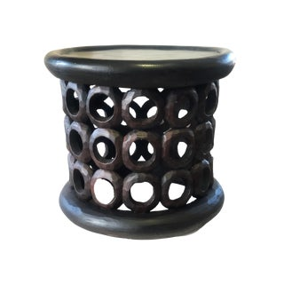 "African Bamileke Wood Stool/Table 16.25"" H by 19 "" D Cameroon For Sale"