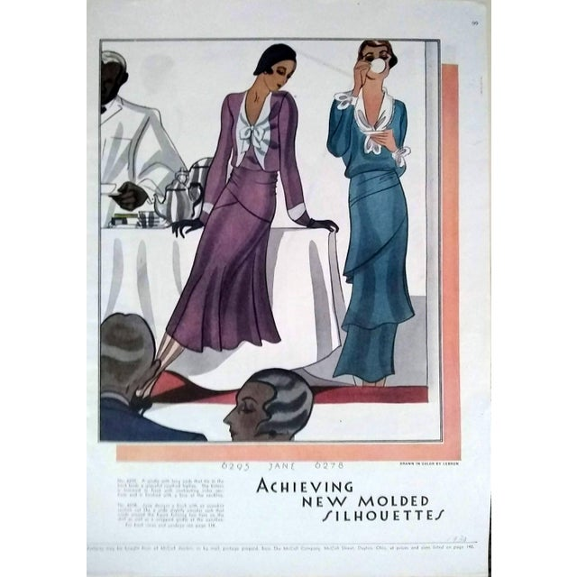Pair of original McCall dressmaking pattern advertisements illustrated by Lebrun from 1930. Prints are matted and set in...
