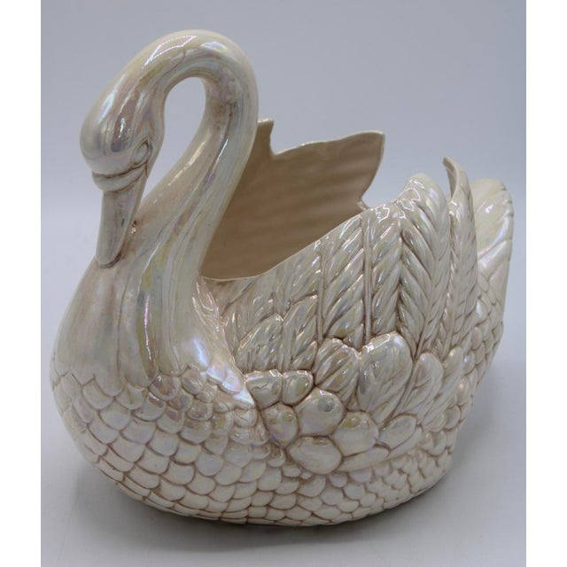 Cream Lusterware Swan Cachepot Planter For Sale In Tulsa - Image 6 of 13
