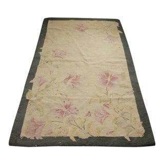 Antique Hooked Rug Floral Design C 1900 Textile 37x64 For Sale