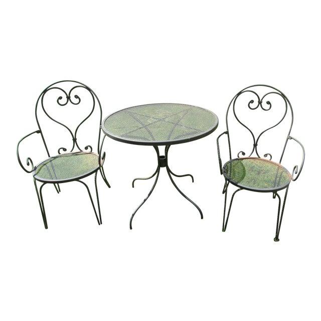 Woodard Parisian Style Wrought Iron Patio Outdoor Bistro Cafe Set- 3 Pieces For Sale