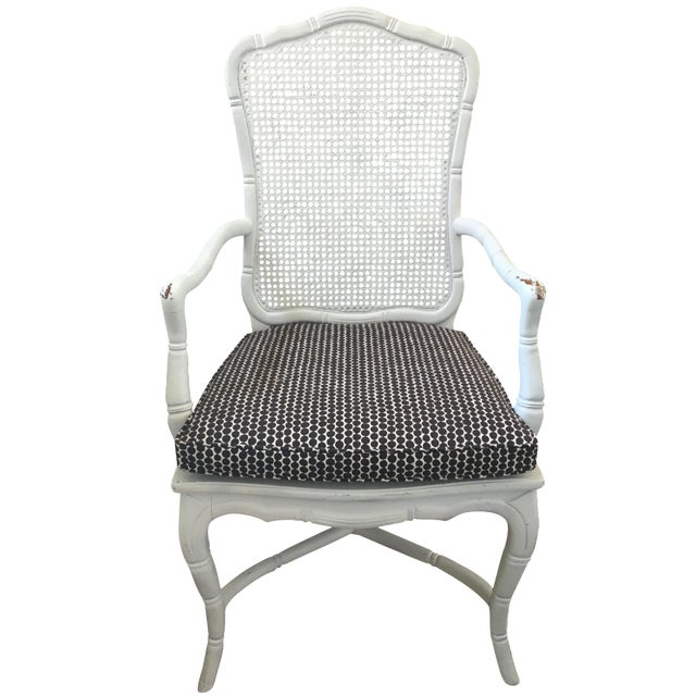 White Faux-Bamboo & Cane Armchair For Sale