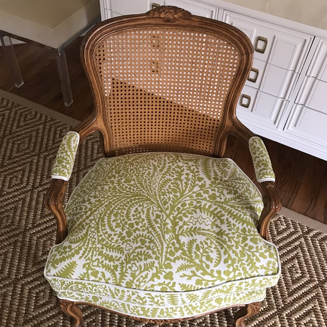 French Vintage Cane French Louis Chair Raoul Textiles Fabric For Sale - Image 3 of 7