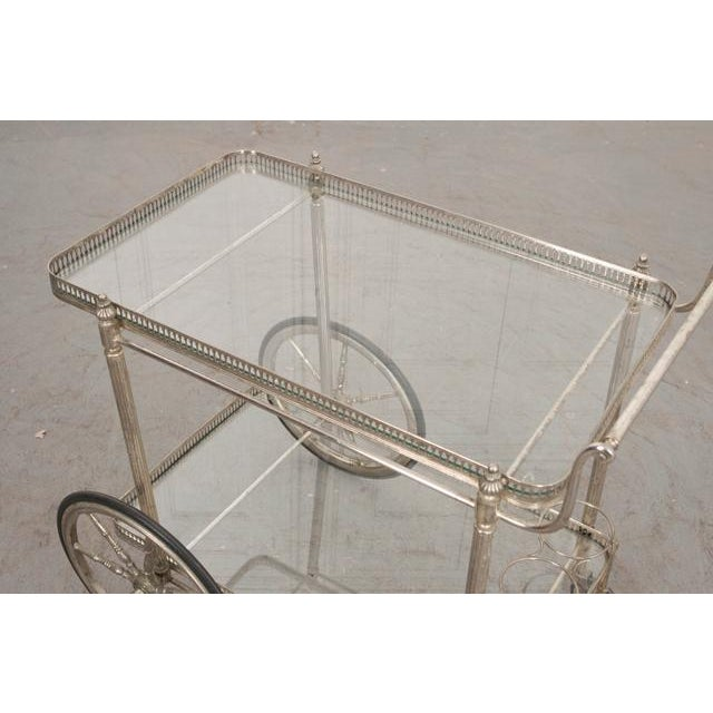 French Vintage Silver Bar Cart For Sale In Baton Rouge - Image 6 of 13