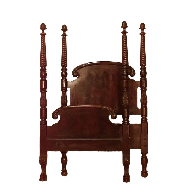 American Empire Style Mahogany Four-Poster Single Size Bed For Sale