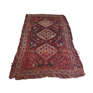 1930s Antique Persian Ancient Symbol Rug - 4′6″ × 7′1″ For Sale
