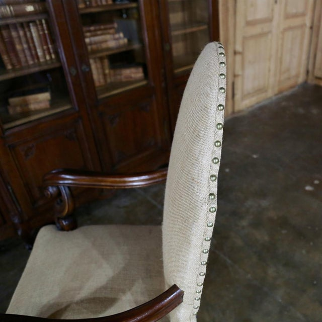 19th Century French Walnut Louis XIV Armchair For Sale - Image 11 of 13