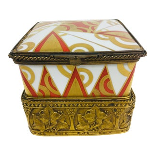 French Deco Porcelain Music Box For Sale