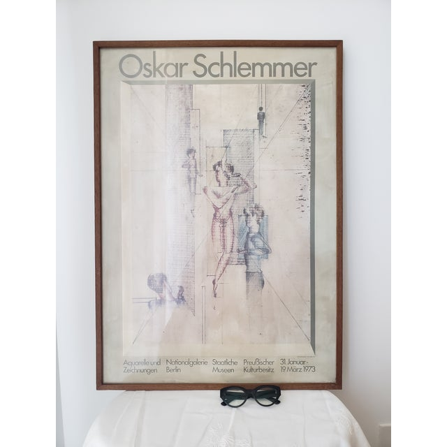 Extremely rare 1973 poster from the Bauhaus artist Oskar Schlemmer exhibition at the Nationalgalerie Berlin. Framed in...