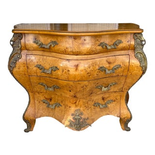 Vintage French Louis XV Bombe Commode Chest For Sale