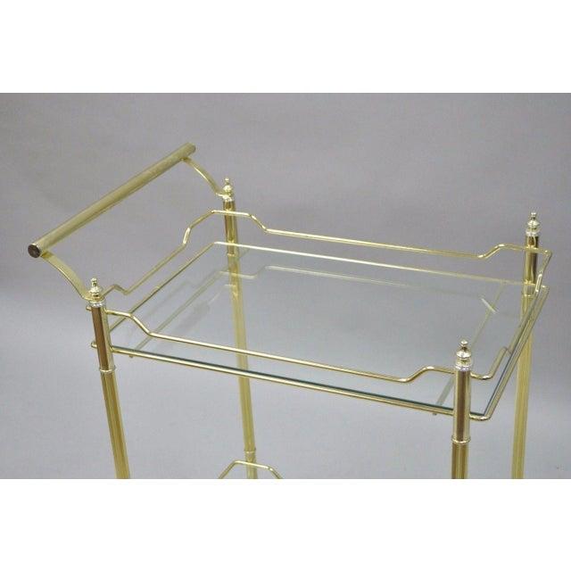 Mid Century Modern Brass Plated Metal & Glass Gold Rolling Bar Tea Cart - Image 4 of 11