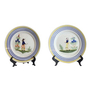 Quimper French Hand Painted Plates - a Pair For Sale