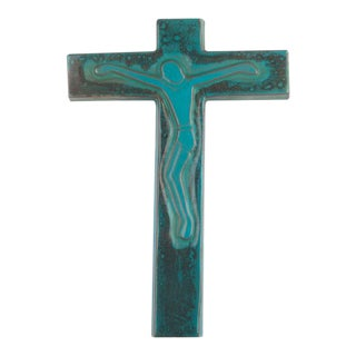 Wall Cross, Blue Painted Ceramic, Handmade in Belgium, 1970s