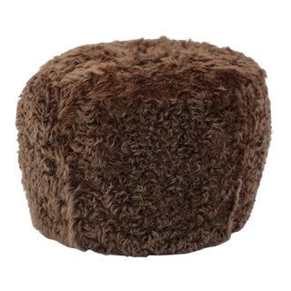 Brown Sheepskin Pouf Ottoman by Tasha Tarno For Sale