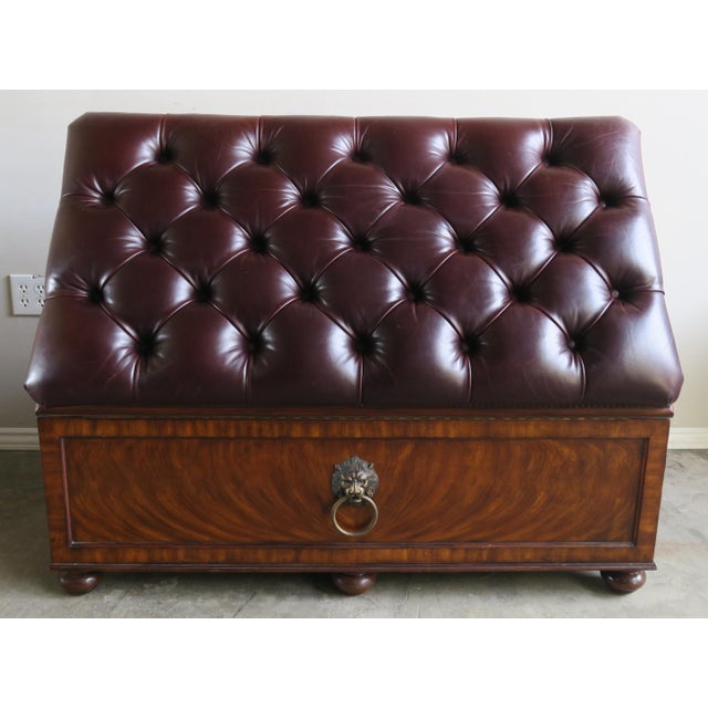 English Flamed Mohagany Leather Tufted Bench W/ Storage For Sale - Image 4 of 12
