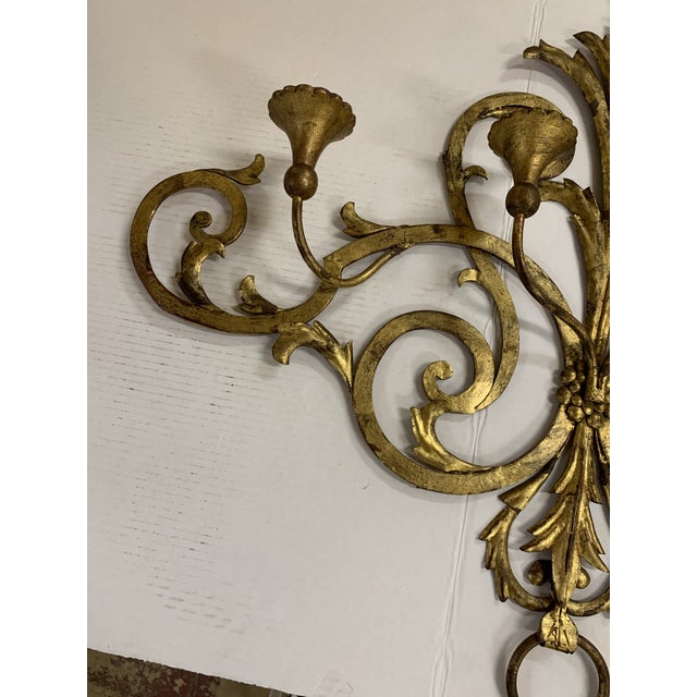Hollywood Regency 1960s Large Gilt Metal Italian 4 Arm Candle Wall Sconce For Sale - Image 3 of 8