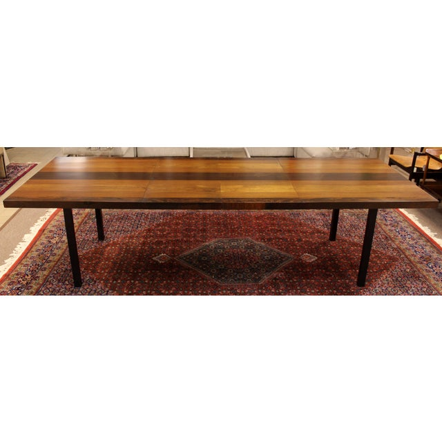 Milo Baughman 1960s Mid-Century Modern Milo Baughman for Directional Walnut Rosewood Dining Table For Sale - Image 4 of 10