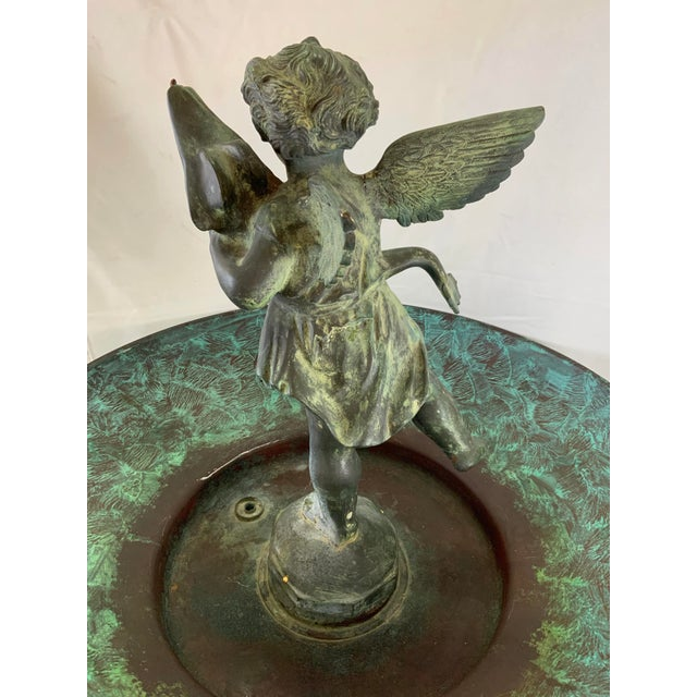 Metal Ornate Indoor Fountain With Heavy Iron and Bronze Base For Sale - Image 7 of 12