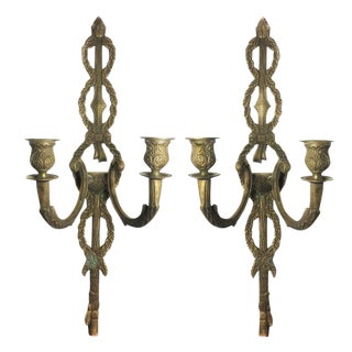 1930s Large Antique French Rococo Brass Wall Sconces - a Pair For Sale