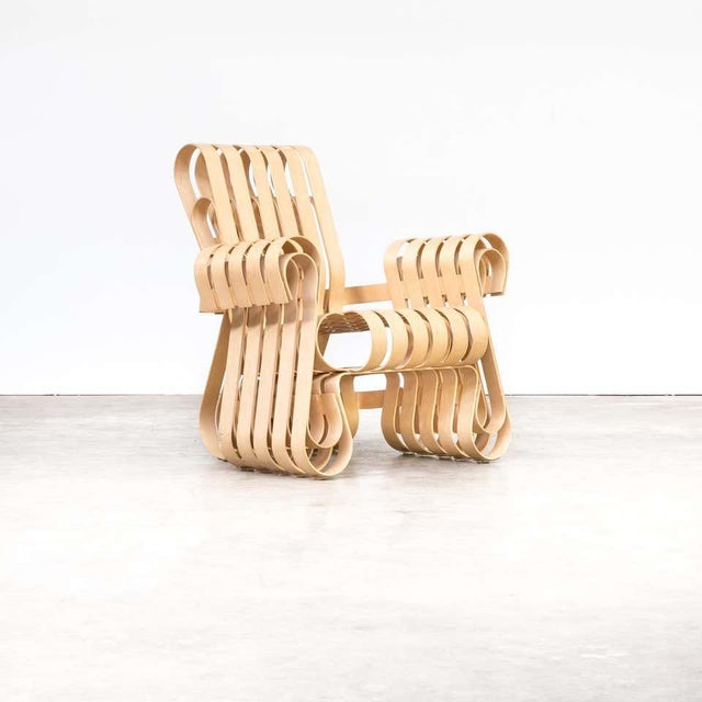 Unique Frank Gehry Power Play Chair for Knoll International, inspired by the surprising strength of the apple crates he...