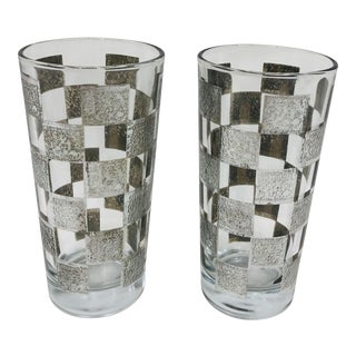 Pair Vintage Mid Century Mod Silver Checkerboard Tumbler Glasses For Sale