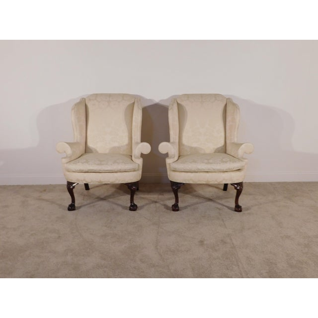 1990s Kindel Winterthur Mahogany & Yellow Damask Easy Wingback Fireside Chairs - a Pair For Sale - Image 5 of 13