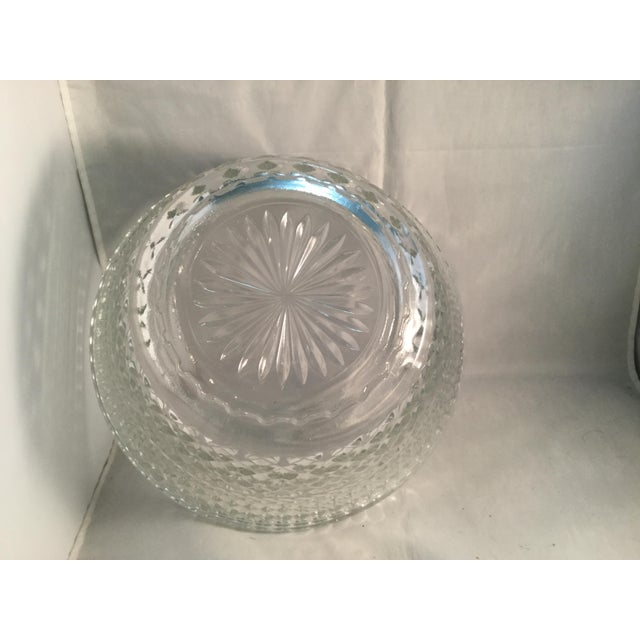 Glass Diamond Cut Pattern Crystal Bowl For Sale - Image 7 of 10