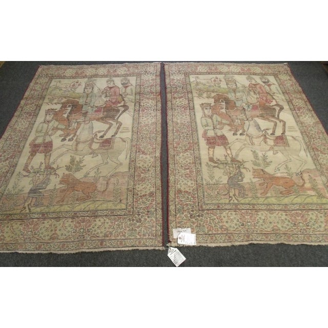 Late 19th Century Antique Handmade Pictorial Rugs - a Pair For Sale - Image 9 of 13
