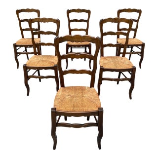 1910s Fine Vintage French Country Provencal Solid Walnut Rush Seat Dining Chairs - Set of 6 For Sale
