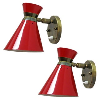 1950s Mid-Century Modern French Double Cone Wall Lights - a Pair