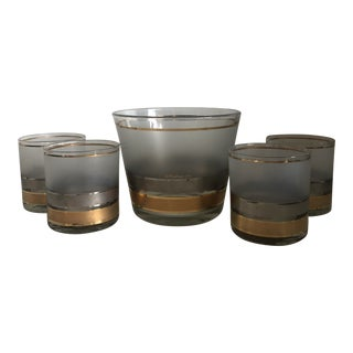 Culver Silver & Gold Banded Ice Bucket & Low Ball Glasses - Set of 5 For Sale