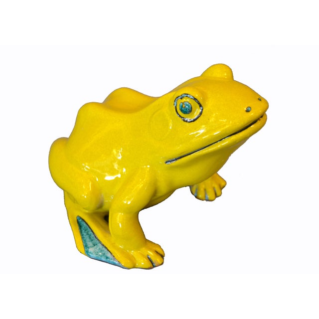 Whimsical Ceramic Neon Yellow & Green Fountain Frog or Outdoor Sculpture, Decorative Animal Pottery from Italy. A hole in...