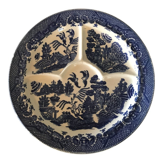Old Blue Willow Divided Grill Plate For Sale