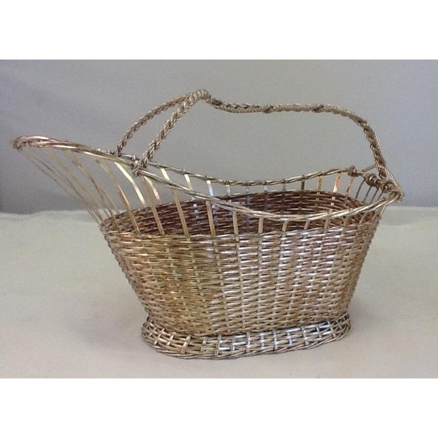 1970s Silver Plate Woven Wine Bottle Basket - Image 2 of 6