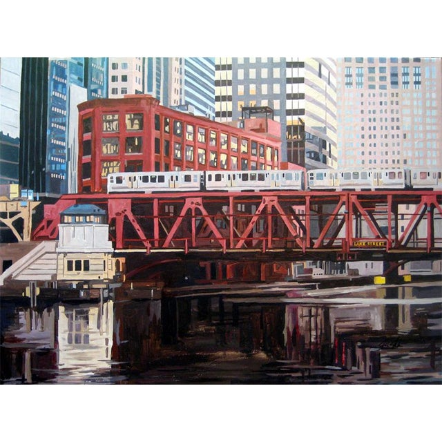 Contemporary Giclee Print - Bridge at Lake St - Image 1 of 2