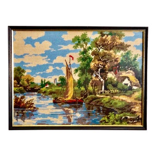 Vintage Needlepoint Tapestry of an English Landscape