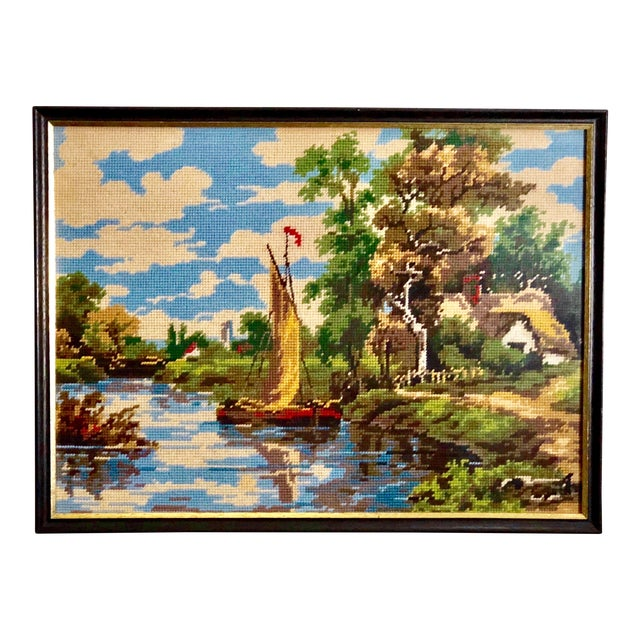Vintage Needlepoint Tapestry of an English Landscape For Sale