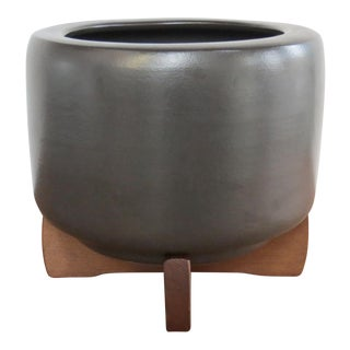 Mid-Century Modern Architectural Pottery Tire Planter With Base