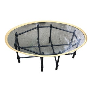 Hollywood Regency Brass Bamboo Table For Sale